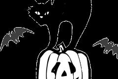 Halloween szinező tök macskával