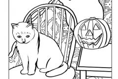 Halloween színező tök macska szellem