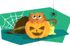 Halloween tök rajz cicával
