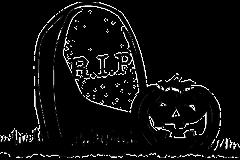 Halloween tök rajz sírkővel