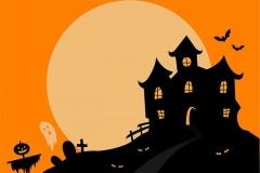 halloween kastély rajz narancs