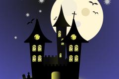 hallowwen kastély rajz kék
