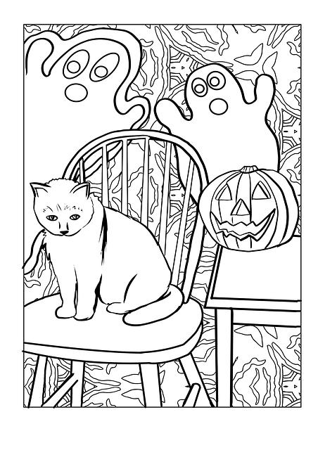 Halloween kifestő tök, macska, szellem
