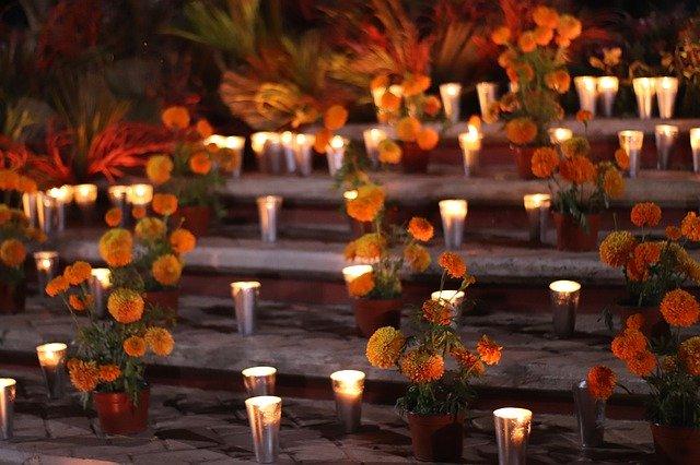 mexikói halottak napja virág, oltár