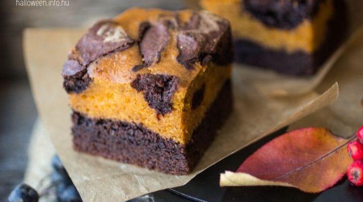 márványos mascarponés csokis sütőtökös brownie